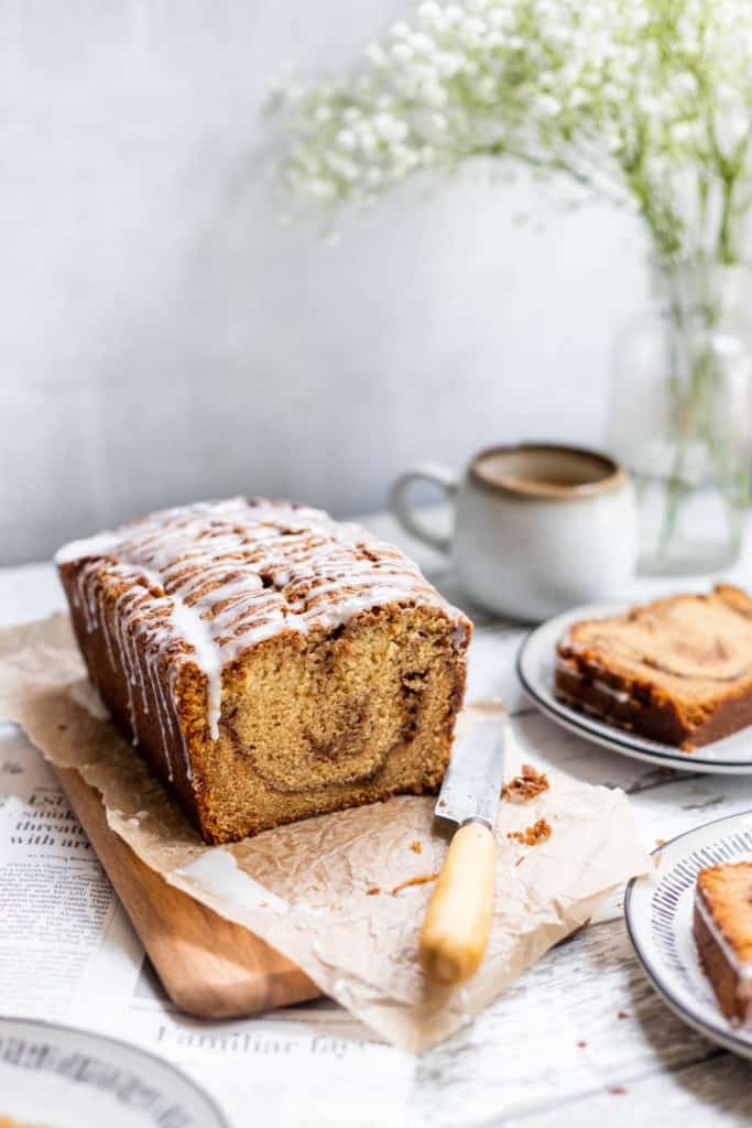 Delicious and Moist Cinnamon swirl loaf cake with swirls of cinnamon.
