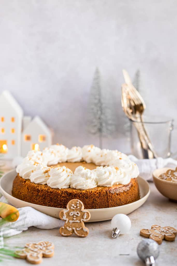 Whole Gingerbread Cheesecake with whipped topping
